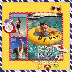 """Beach Baby"" digital scrapbook layout by Sue Maravelas"