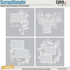 ScrapSimple Digital Layout Template: Floral Doodles