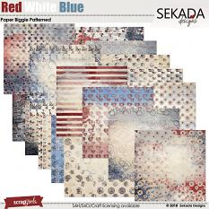 Red White Blue Paper Biggie Patterned