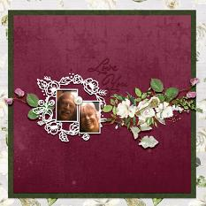 """Love You"" digital scrapbook layout by Debby Leonard"
