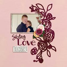 """Sibling Love"" digital scrapbook layout by Shauna Trueblood"
