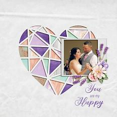 """You are my Happy"" digital scrapbook layout by Shauna Trueblood"
