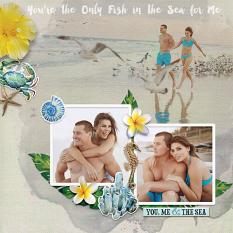 """Only Fish in the Sea"" digital scrapbook layout by Darryl Beers"