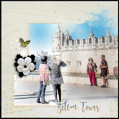 """Belem Tower"" digital scrapbook layout by Geraldine Touitou"