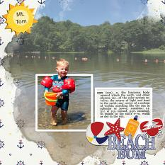 """Beach Bum"" digital scrapbook layout by Debby Leonard"