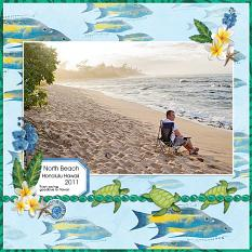 """North Beach"" digital scrapbook layout by Andrea Hutton"
