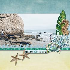 """You, Me & the Sea"" digital scrapbook layout by Carmel Munro"