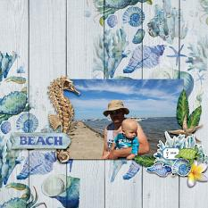 """Beach"" digital scrapbook layout by Debby Leonard"