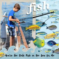 """Fish"" digital scrapbook layout by Debby Leonard"