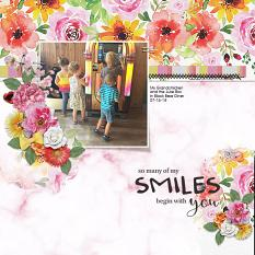 """""""Smiles begin with You"""" digital scrapbook layout by Andrea Hutton"""