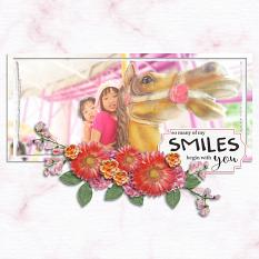 """""""Smiles Begin with You"""" digital scrapbook layout by Carmel Munro"""