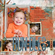 Bundles layout by Christy VanderWall. See below for description and links to all products used in this digital scrapbooking layout.