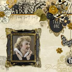 Scrapbook page created using Vintage Charm alpha templates
