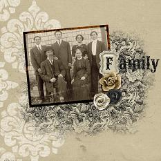 Scrapbook layout created using Vintage Charm alpha templates