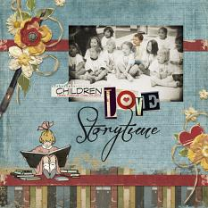 Scrapbook page made with Vintage School Embellishments Illustrations