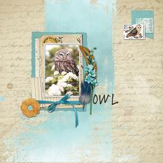 """Owl"" digital scrapbook layout by Sondra Cook"