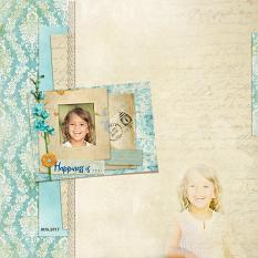 """Happiness is"" digital scrapbook layout by Geraldine Touitou"