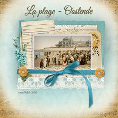 """La plage - Oostende"" digital scrapbook layout by Marie Hoorne"