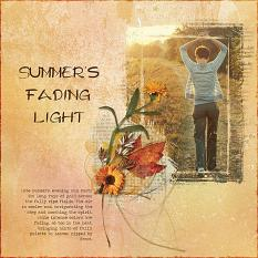 """""""Summer's Fading Light"""" digital scrapbooking layout using Scrap Simple:    Painted Wood, Spattered and Grungy Paper Templates, Simply Vintage Photo Masks"""