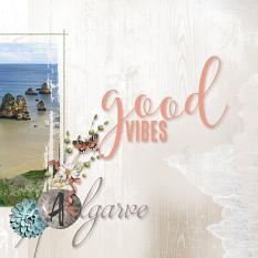 """The Algarve"" digital scrapbooking layout using Scrap Simple:    Painted Wood, Spattered and Grungy Paper Templates, Simply Vintage Photo Masks"