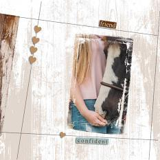 """Confidence"" digital scrapbooking layout using Scrap Simple:   Painted Wood, Spattered and Grungy Paper Templates, Simply Vintage Photo Masks"