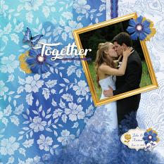 """Together"" digital scrapbook layout by Sue Maravelas"