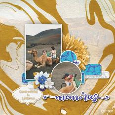 """Camel Trekking"" digital scrapbook layout by Marie Hoorne"