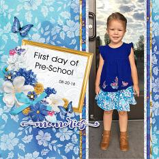 """""""First Day of Pre-School"""" digital scrapbook layout by Andrea Hutton"""
