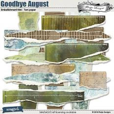Goodbye August Embellishment Mini : Torn Papers by Florju Designs