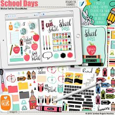 School Days digital stickers for GoodNotes