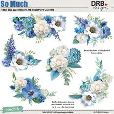 So Much Floral and Watercolor Embellishment Clusters by DRB Clusters