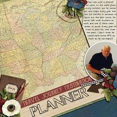"""""""Planner"""" digital scrapbooking layout using Travel Log Collection Mini"""