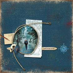 """""""Walk In The Forest"""" digital scrapbooking layout using Travel Log Collection Mini"""