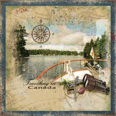 """""""Traveling In Canada"""" digital scrapbooking layout using Travel Log Collection Mini"""