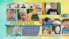 """August"" digital scrapbook layout showcases ScrapSimple Digital Layout Album Templates: Scrap It Monthly 4 Series 3"