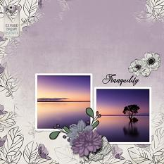 """Tranquility"" digital scrapbook layout by Sondra Cook"