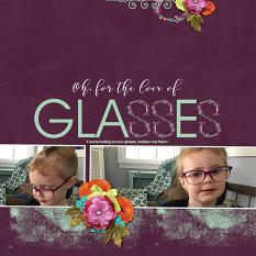 """""""Glasses"""" digital scrapbook layout by Andrea Hutton"""