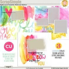 Watercolor Rainbow Layout Templates