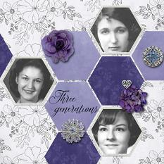 """Three Generations"" digital scrapbook layout by Sondra Cook"