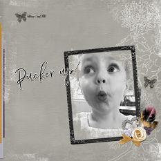 """""""Pucker Up"""" digital scrapbook layout by Andrea Hutton"""