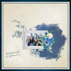 """Best Friends Forever"" digital scrapbook layout by Geraldine Touitou"