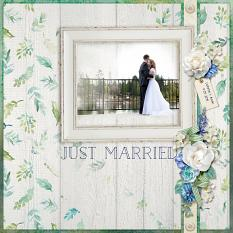 """Just Married"" digital scrapbook layout by April Martell"