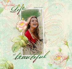 Scrapbook layout by Geraldine Touitou uses Quiet Beauty digital kit