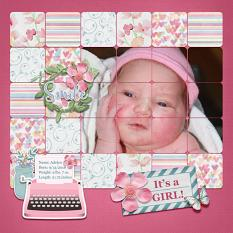 """Adelyn"" digital scrapbook layout by Sue Maravelas"