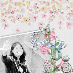 """Smile"" digital scrapbook layout by Debby Leonard"