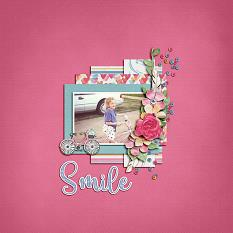 """Smile"" digital scrapbook layout by Shauna Trueblood"