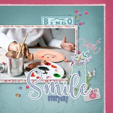 """Paint a Smile Everyday"" ldigital scrapbook ayout by Marie Hoorne"