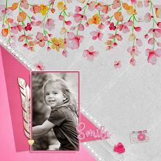 """Smile"" digital scrapbook layout by Geraldine Touitou"