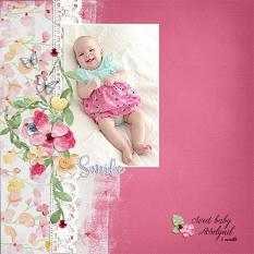 """Sweet Baby Roselynd"" digital scrapbook layout by Andrea Hutton"