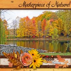 """Masterpiece of Nature"" digital scrapbook layout by Laura Louie uses:"